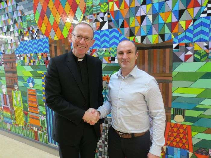Bishop Fintan visiting Confirmation classes, Ennis National School with Principal Ray Mc Inerney