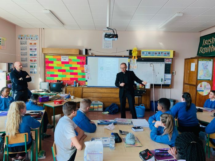 Bishop Fintan visits the students preparing for Confirmation in the Holy Family School