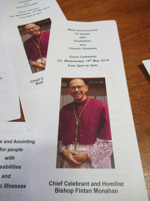 Annual Mass & Anointing for people with disabilities and chronic illnesses; Ennis Cathedral; Wednesday, 15th May; Chief Celebrant Bishop Fintan Monahan