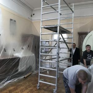 Work has begun on the painting and decorating of the Cathedral.